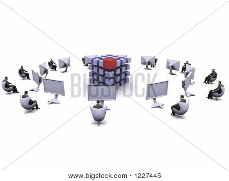Businessman And Lcd Screens