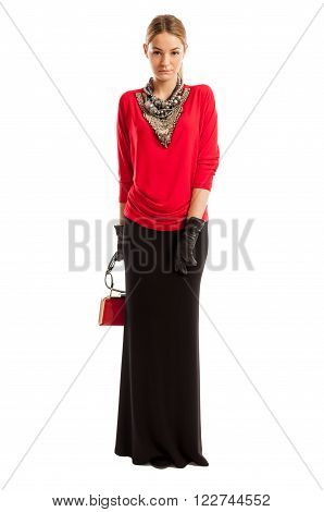 Young Female Model Wearing Red Blouse And Long Black Skirt