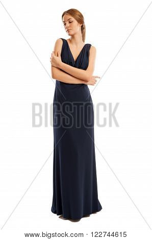 Female Model Wearing Long Dress With Sensual Attitude