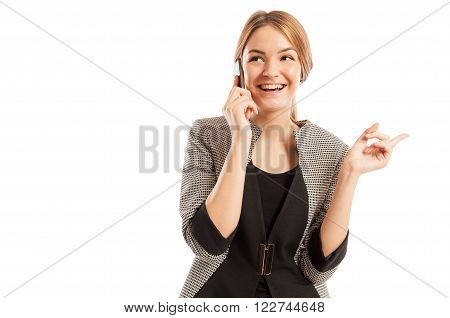 Excited Sales Woman Talking On The Smartphone