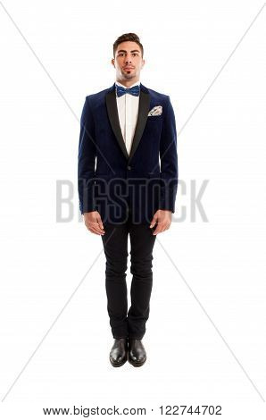 One Male Model Wearing Elegant Suit And Bow Tie