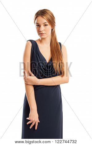 Long Hair Female Model Wearing An Elegant Dress