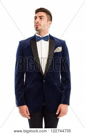 Show Man Wearing Elegant Suit And Bowtie