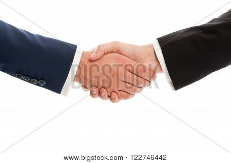 Business hands shaking isolated on white studio background