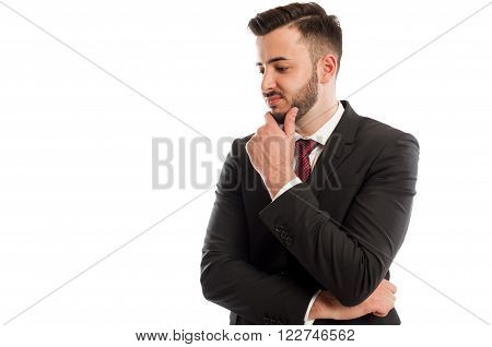 Disappointed business man isolated on white background