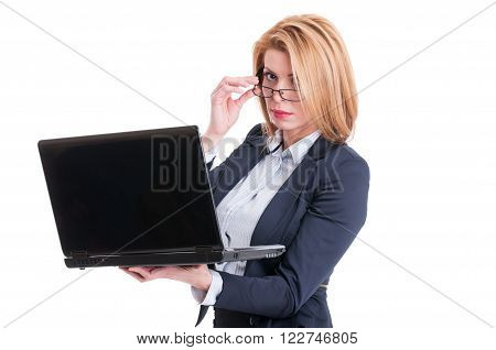 Kinky Business Woman Taking Off Her Glasses