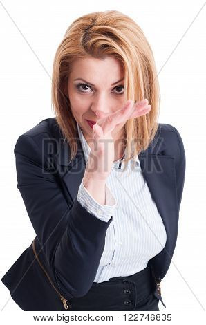 Business Woman Making Fun Of Competition