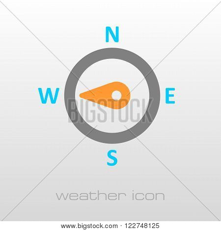 Compass wind rose outline icon. Direction west. Meteorology. Weather. Vector illustration eps 10