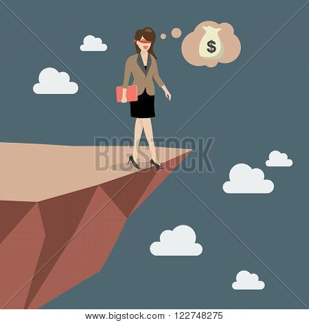 Business woman walk straight into the abyss. Vector Illustration