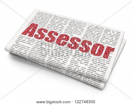 Insurance concept: Assessor on Newspaper background