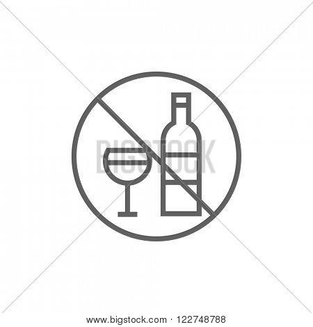 No alcohol sign line icon.
