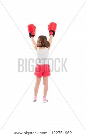 Young Boxer Girl Champion From Behind