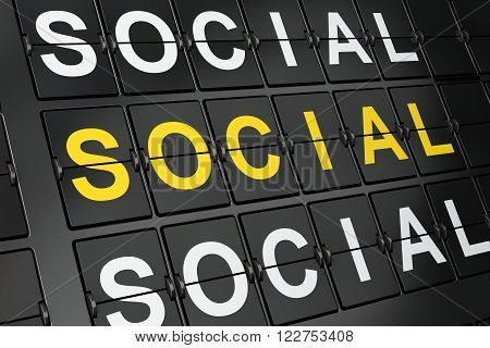 Political concept: Social Equality on airport board background, 3d render poster