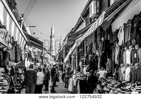 NICOSIA CYPRUS - DECEMBER 3: People shopping at open-air market on Arasta street a touristic street leading to Selimiye mosque in central Nicosia on December 3 2015.