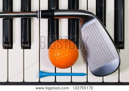 Virtuosic game - Piano keyboard and different golf equipments