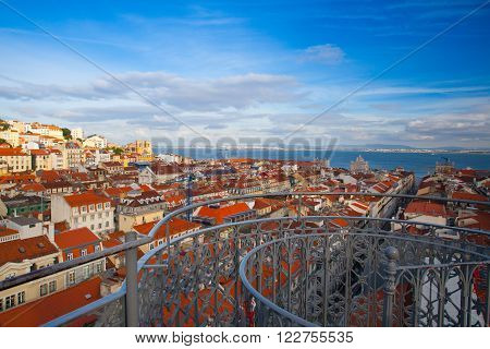 View from the top of the Santa Justa elevator on Lisbon city.,Portugal