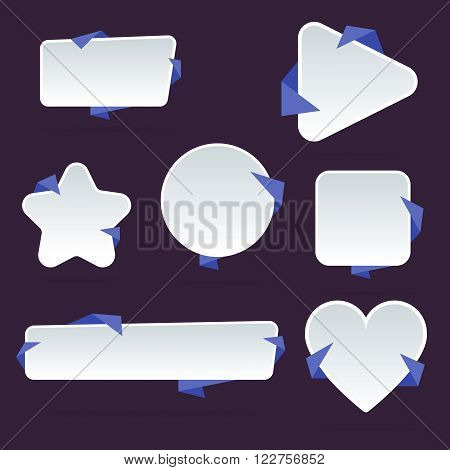 Vector badges flat modern style. Design badges. Set of vector badges, label and sticker. Colorful badges. Isolated badges set. Abstract badges. Flat badges. Different badges set. Ribbon badges. Badges icon collection. Advertisement badges. Blank badges.