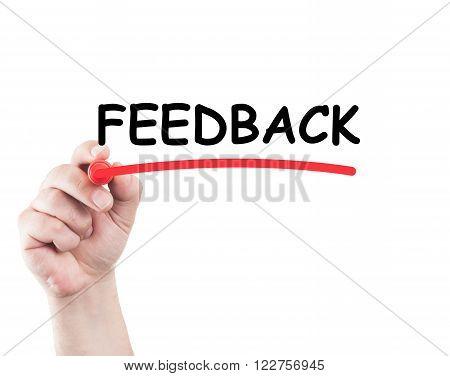 Hand Underlining Feedback Word