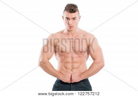 Muscular Male Model Flexing Abs And Arms