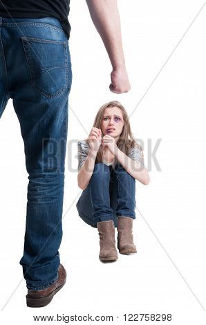 Domestic violence concept with scared and wounded woman protecting herlesf from a violent man