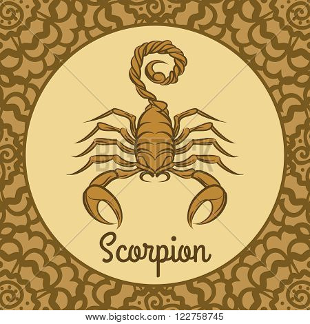 Scorpion label icon. Vector hand drawn scorpion logo template