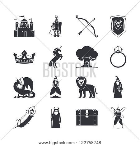 Fairytale icons or fantasy icons. Castle and sword, knight and princess, dragon and crown. Vector illustration