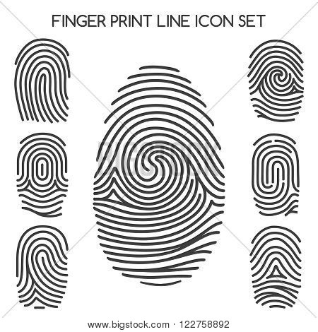 Fingerprint icons. Finger print line icons or thumbprint signs. Vector illustration