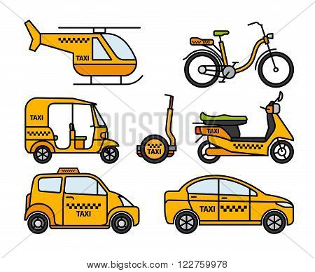 Taxi thin line icons. Taxicab and london cab, baby taxi and tuk-tuk rickshaw, helicopter taxi and bicycle taxi. Vector illustration