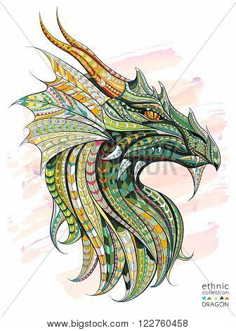 Patterned head of the dragon on the grunge background. African, indian,  totem,  tattoo design. It may be used for design of a t-shirt bag postcard a poster and so on.