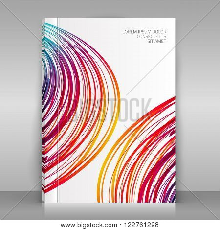 White brochure on gray background. Vector illustration. Colorful striped wave design for business flyer annual report catalog brochure poster.