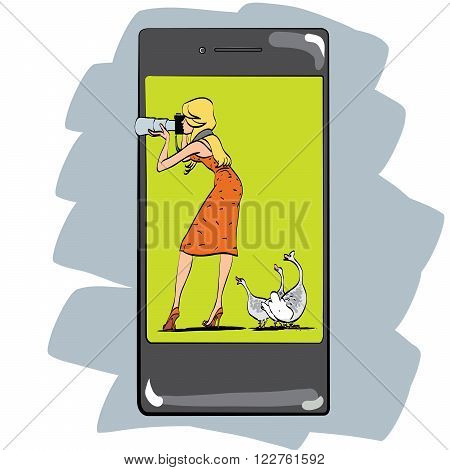 Photo app for smartphone girl photographs appliances and gadgets. The woman with the camera and geese. Photographing nature