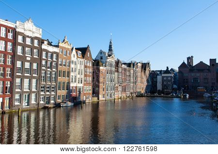 Amsterdam residence buildings on canal the Netherlands.