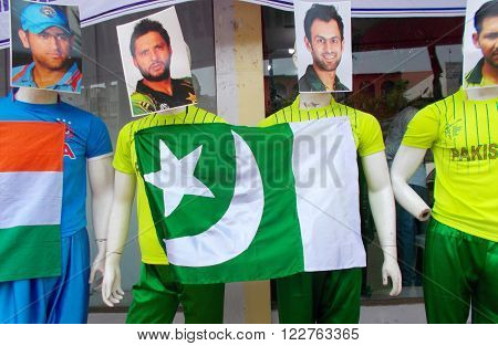HYDERABAD,INDIA-MARCH 19: Mannequins dressed in sports wear of India and Pakistan during ICC T 20 world cup being played in India in front of clothes store on March 19,2016 in Hyderabad,India.