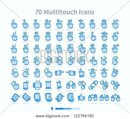 70 Multitouch gesture icons. Nice detail and easily identifiable. Ideal for clean design.