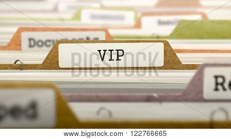 VIP - Very Important Person - on Business Folder in Multicolor Card Index. Closeup View. Blurred Image. 3D Render.