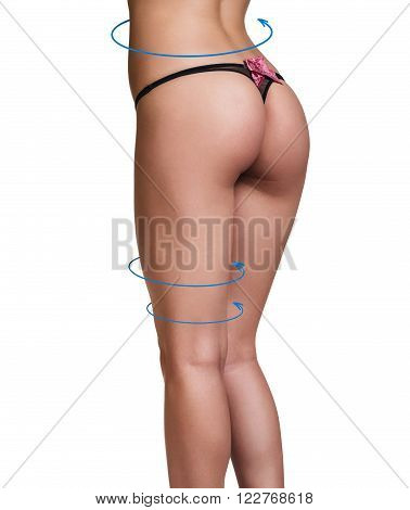 Female body with the blue arrows. Healthy nutrition, liposuction, sport and cellulite removal concept