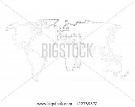 Vector world map - outline made of perpendicular lines with black dots