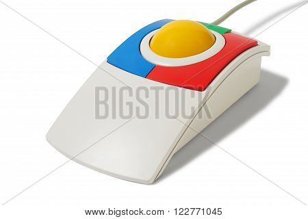 Big trackball with yellow ball  isolated on white background