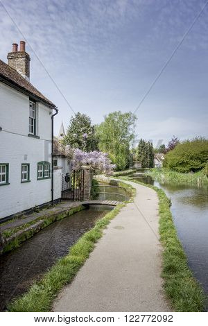 Footpath on Loose river running through the village of Loose, Kent, UK