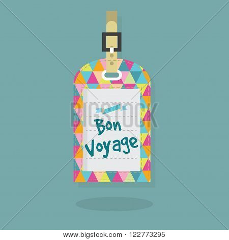 Abstract Bon Voyage message on luggage and travel bag tag with colorful triangle pattern