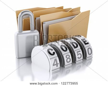3d renderer image. Folder security with padlock. Isolated white background.