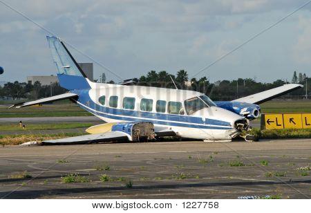Crash Landed Airplane On A Runway