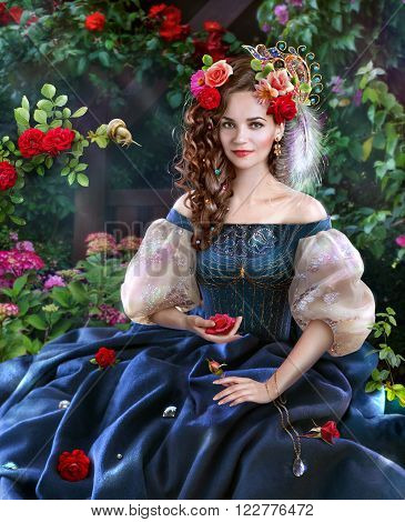 """Young woman among the flowers of roses and precious stones. Illustration to the fairy tale by Charles Perrault """"Diamonds and Toads"""" poster"""