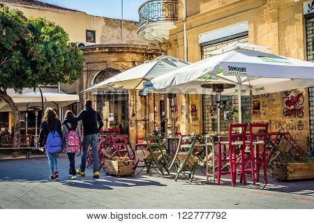 NICOSIA CYPRUS - DECEMBER 3: Old fashioned cafe terrace at Fanairomenis street on December 3 2015 in Nicosia.