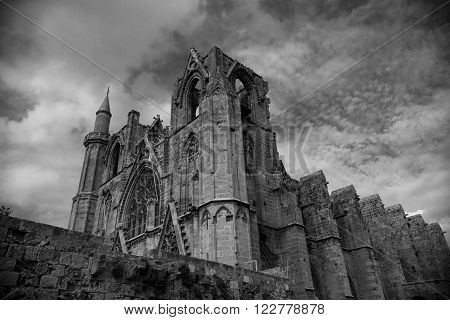 Gothic St. Nicholas Cathedral in dramatic shot. Famagusta, Cyprus.
