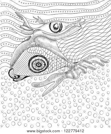 Surreal hand drawing whale and fish abstract template with black outlines can use for posters cards stickers coloring book as decorative element.