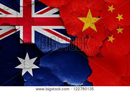 Flags Of Australia And China Painted On Cracked Wall