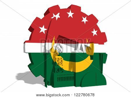 Arab Maghreb Union - AMU association of five national economies members flag on gear. A trade agreement unity among Arab countries of the Maghreb in North Africa.