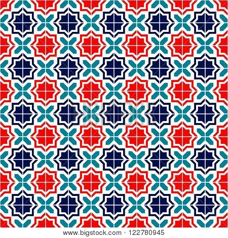 Blue red and white moroccan tiles seamless pattern, vector background
