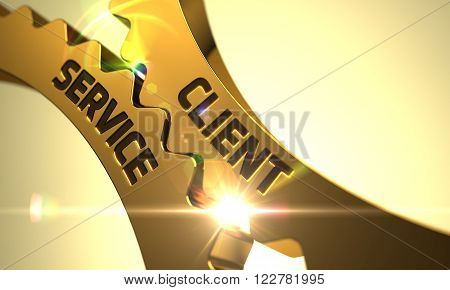 Client Service on Mechanism of Golden Gears with Lens Flare. Client Service - Concept. Client Service - Illustration with Glow Effect and Lens Flare. Client Service - Industrial Design. 3D Render.